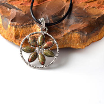 Natural Unakite Chips Life of Flower Pendant